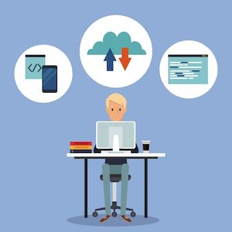 Couleur scène arrière-plan vue latérale développeur web dans le langage de programmation de bureau autour de la fenêtre pc