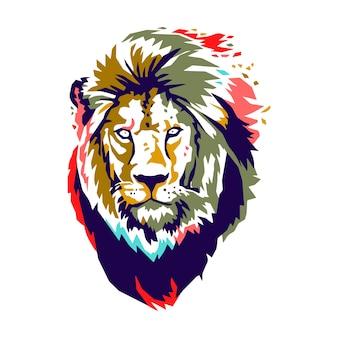 Couleur de vecteur tête de lion