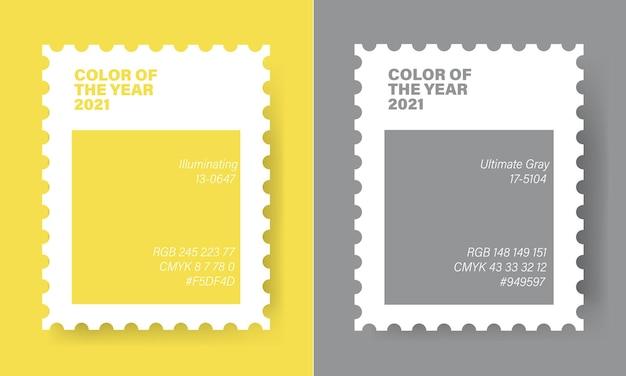 Couleurs de l'année 2021 dans un timbre. gris lumineux et ultime