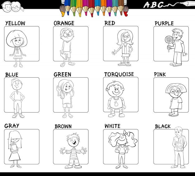 Couleurs de base éducatives pour la coloration