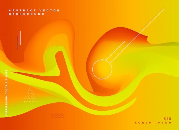 Couleurs fluides abstraites orange backgroud vecteur