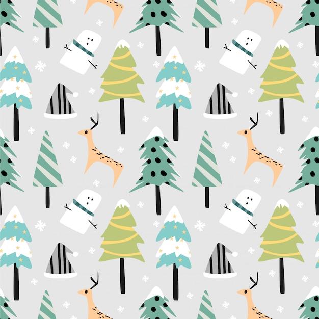 Couleurs pastel de modèle sans couture noël paysage de forêt