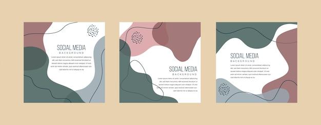 Couleurs pastel rouge foncé vert et bleu de modèles d'art carré abstrait pour convient pour la conception de bannières d'applications mobiles de publication de médias sociaux et les annonces web ou internet arrière-plans de mode vectoriels