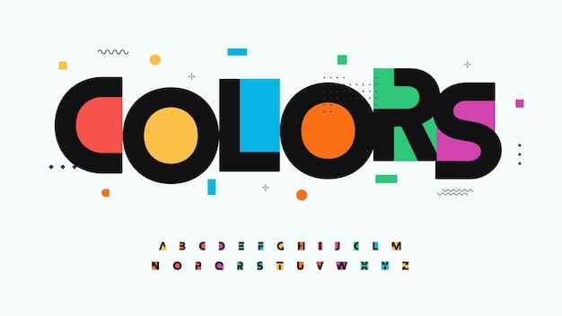 Couleurs polices alphabet lettres logo moderne typographie couleur art créatif design typographique festif