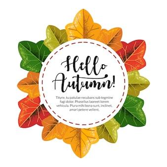Les couleurs rondes laisse avec le texte bonjour l'automne