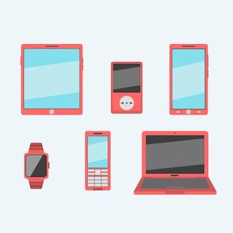 Couleurs rouges de gadget mobile au design plat