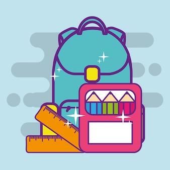 Couleurs de sac à dos d'école crayon sur la règle de boîte