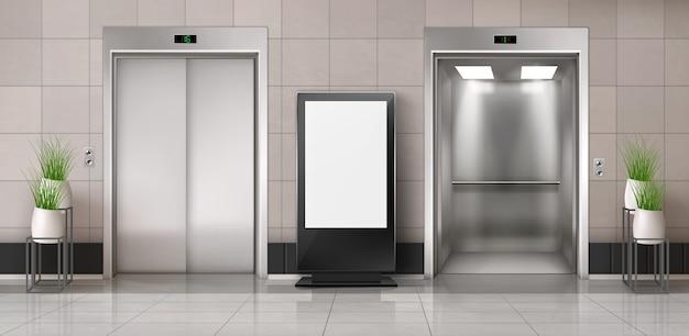 Couloir de bureau avec ascenseur et panneau d'affichage