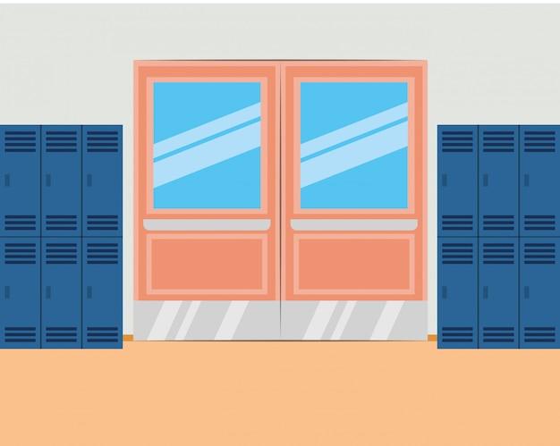 Couloir scolaire avec casiers et porte fermée
