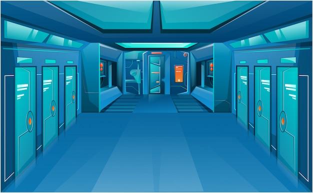 Couloir de vaisseau spatial avec portes fermées.