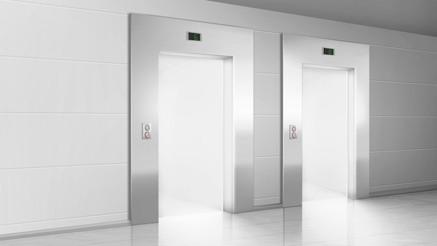 Couloir vide avec la lumière des portes ouvertes des ascenseurs