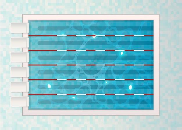 Couloirs de nage avec tranplines dans la piscine