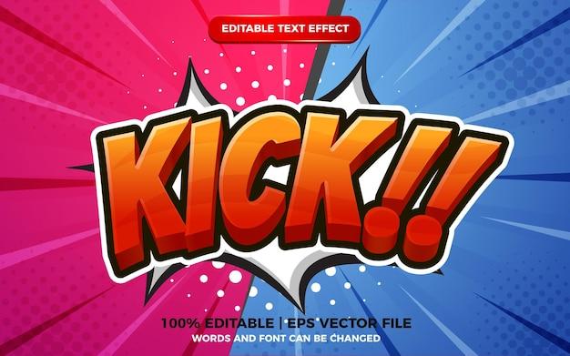 Coup de pied modèle d'effet de texte modifiable de style dessin animé 3d sur fond de demi-teintes