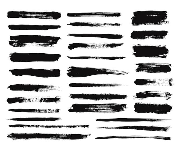 Coup de pinceau d'encre. peinture sèche à long frottis, taches noires. lignes droites texturées isolées ou éléments de conception art grunge. jeu de dessin vectoriel. pinceau, illustration de trait d'encre grunge