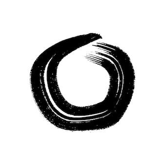 Coup de pinceau grunge noir en forme de cercle. cercle d'encre peint. tache d'encre isolée sur fond blanc. illustration vectorielle