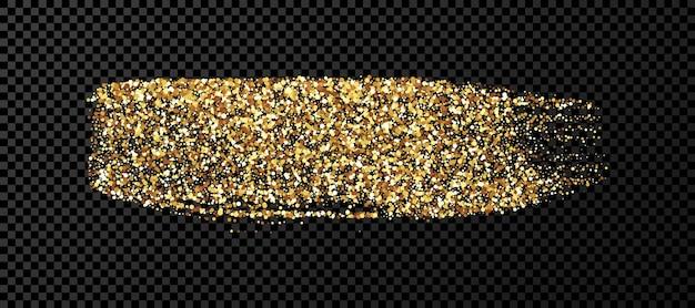 Coup de pinceau grunge or. bande d'encre peinte. tache d'encre isolée sur fond transparent foncé. illustration vectorielle