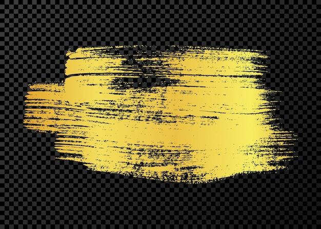 Coup de pinceau grunge or. frottis d'encre peinte. tache d'encre isolée sur fond transparent. illustration vectorielle