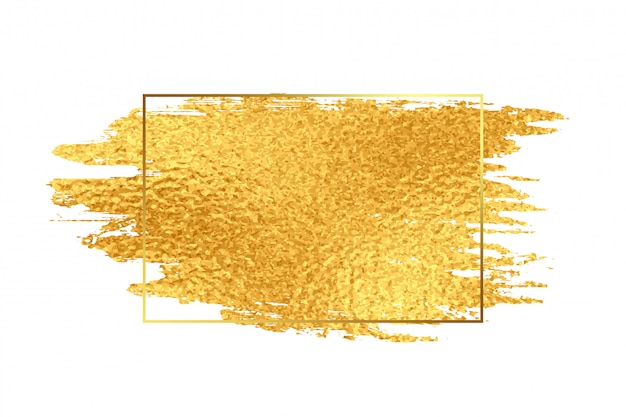 Coup de pinceau de peinture dorée avec cadre de texture de papier d'aluminium