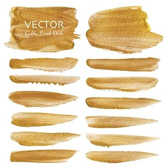 Coup de pinceau de vecteur d'or