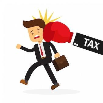 Coup de poing d'homme d'affaires à la main de l'impôt