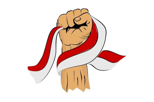 Coup de poing ou poing main et drapeau indonésien pour la fête de l'indépendance de l'indonésie célébration