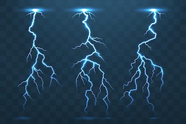 Coup de tonnerre et éclairs, flash d'électricité orageux