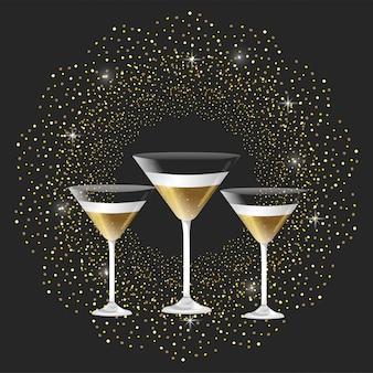 Coupe de champagne avec étoiles pour les vacances du nouvel an