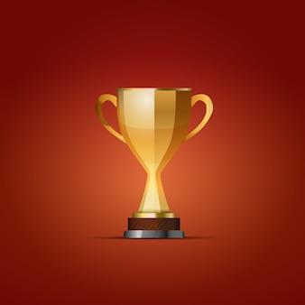 Coupe du gagnant sur fond rouge