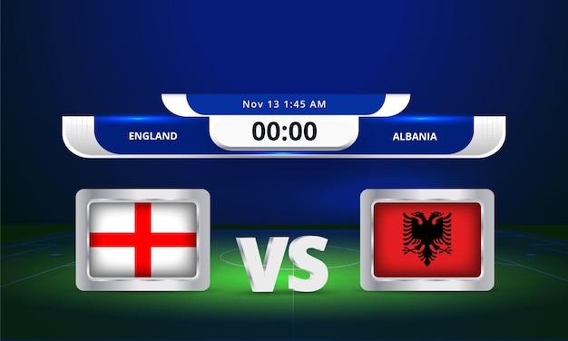 Coupe du monde fifa 2022 angleterre vs albanie match de football diffusion tableau de bord
