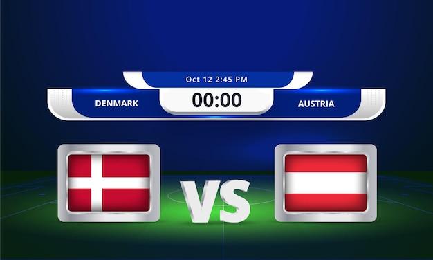 Coupe du monde fifa 2022 danemark vs autriche match de football diffusion du tableau de bord