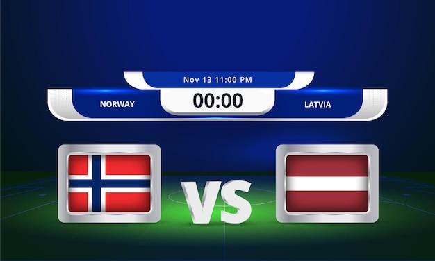 Coupe du monde fifa 2022 norvège vs lettonie match de football diffusion tableau de bord