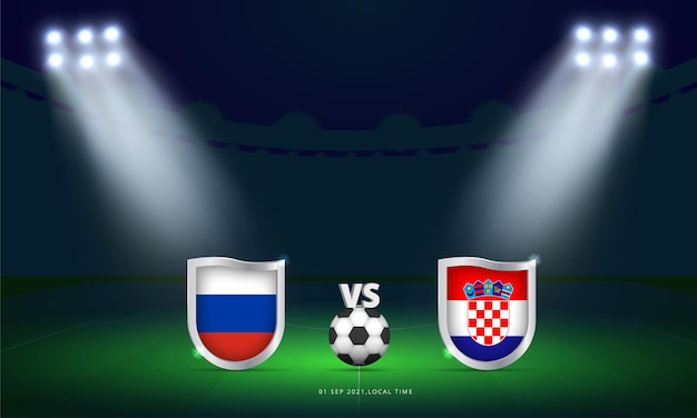 Coupe du monde fifa 2022 russie vs croatie qualificatifs match de football diffusion tableau de bord