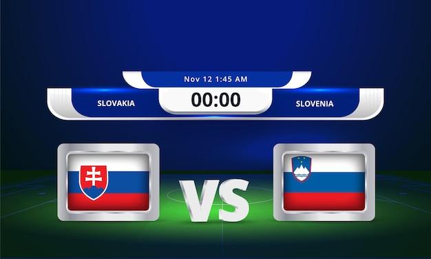 Coupe du monde fifa 2022 slovaquie vs slovénie match de football diffusion tableau de bord