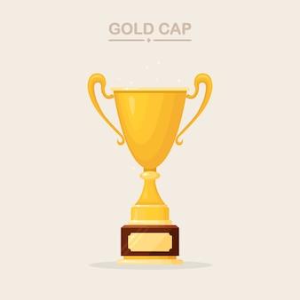 Coupe du trophée. gobelet d'or isolé sur fond blanc. récompenses pour le gagnant, le champion. concept de victoire, prix, championnat, leadership, réalisation. éléments pour logo, étiquette, jeu, conception d'application.