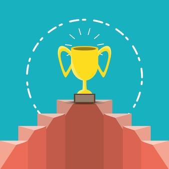 Coupe du trophée sur le podium sur fond bleu, design coloré. illustration vectorielle