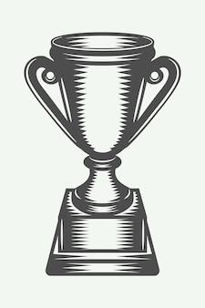 Coupe du vainqueur vintage. art graphique monochrome. illustration vectorielle.