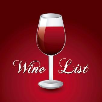 Coupe du vin au cours de l'illustration vectorielle fond rouge