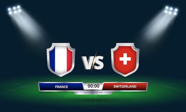 Coupe d'europe huitièmes de finale france vs suisse football match tableau de bord diffusé