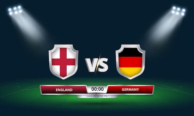 Coupe d'europe ronde de 16 angleterre vs allemagne match de football diffusion tableau de bord