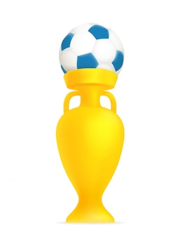 Coupe de football avec ballon de soccer. le concept gagnant
