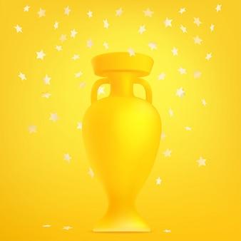 Coupe de football avec des confettis. le concept gagnant