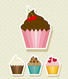 Coupe des gâteaux sur illustration vectorielle fond beige