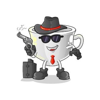 Coupe de la mafia avec mascotte de mascotte de dessin animé de pistolet. mascotte de dessin animé