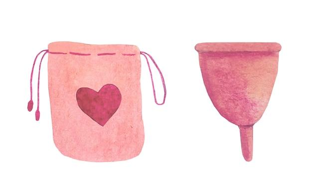 Coupe menstruelle aquarelle.