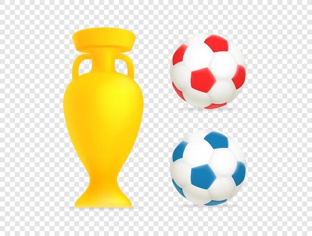 Coupe d'or et ballons de football émoticônes web isolés