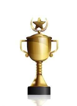 Coupe d'or avec étoile et couronne de laurier isolé sur blanc
