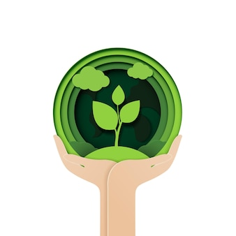 Coupe de papier de mains tenant des feuilles d'arbre de semis de concept abstrait écologique de germe de plante