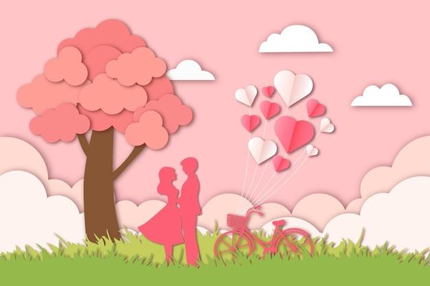 Coupe de papier romantique pour la saint-valentin