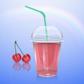 Coupe en plastique réaliste avec du jus de cerise, illustration