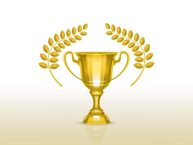 Coupe réaliste 3d avec des branches d'olivier, trophée d'or pour le vainqueur de la compétition